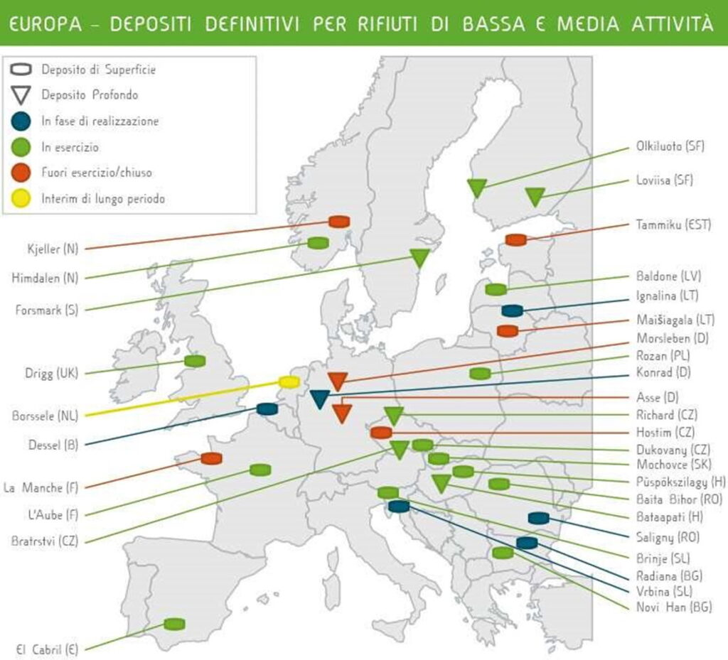 Cartina geografica dell'Europa che mostra i depositi definitivi selezionati per ospitare rifiuti nucleari di bassa e media attività.